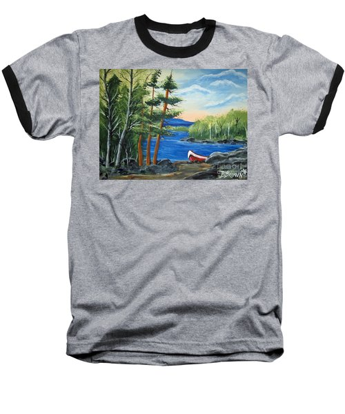 Red Canoe Baseball T-Shirt by Brenda Brown