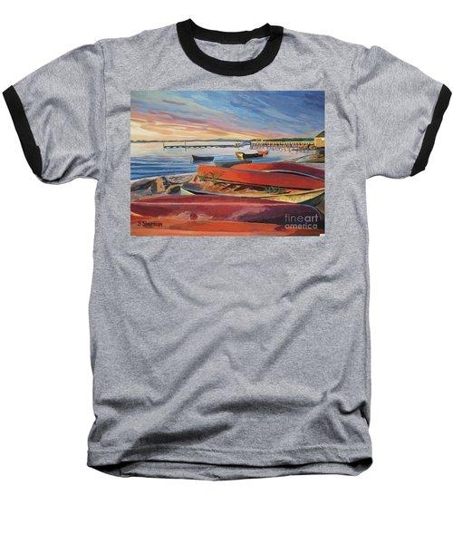 Red Canoe Sunset Baseball T-Shirt