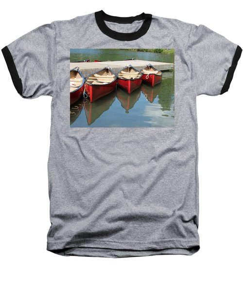 Baseball T-Shirt featuring the photograph Red Canoes by Marcia Socolik