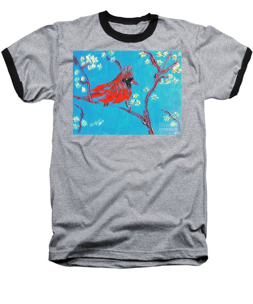 Baseball T-Shirt featuring the painting Red Cardinal Spring by Richard W Linford