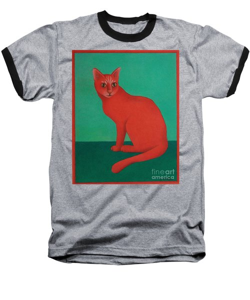Baseball T-Shirt featuring the painting Red Cat by Pamela Clements