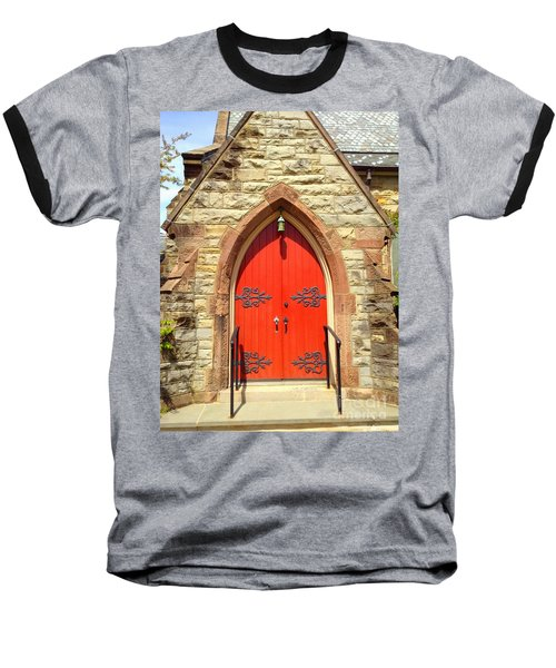 Baseball T-Shirt featuring the photograph Red Church Door by Becky Lupe