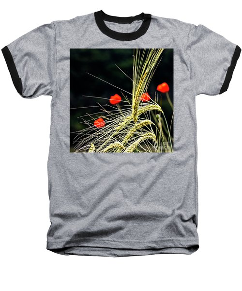 Red Corn Poppies Baseball T-Shirt
