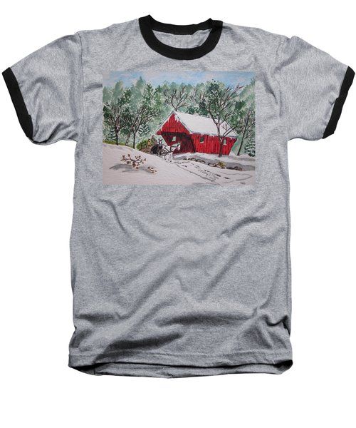 Red Covered Bridge Christmas Baseball T-Shirt by Kathy Marrs Chandler