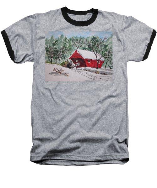 Red Covered Bridge Christmas Baseball T-Shirt