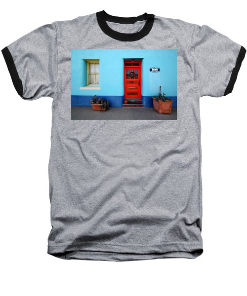 Red Door On Blue Wall Baseball T-Shirt