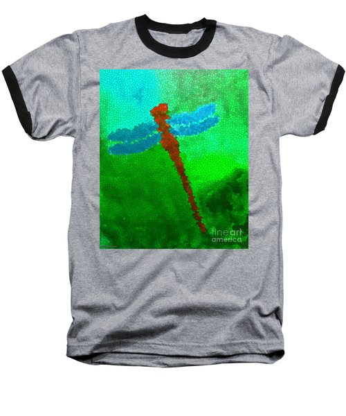 Baseball T-Shirt featuring the digital art Red Dragonfly by Anita Lewis