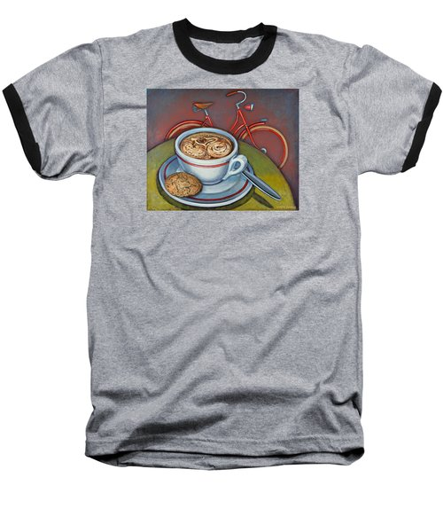 Red Dutch Bicycle With Cappuccino And Amaretti Baseball T-Shirt by Mark Jones