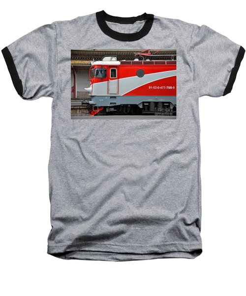 Baseball T-Shirt featuring the photograph Red Electric Train Locomotive Bucharest Romania by Imran Ahmed