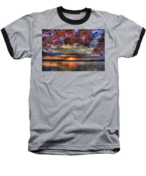 Good Bye Until Tomorrow Fall Leaves Sunset Lake Oconee Georgia Baseball T-Shirt