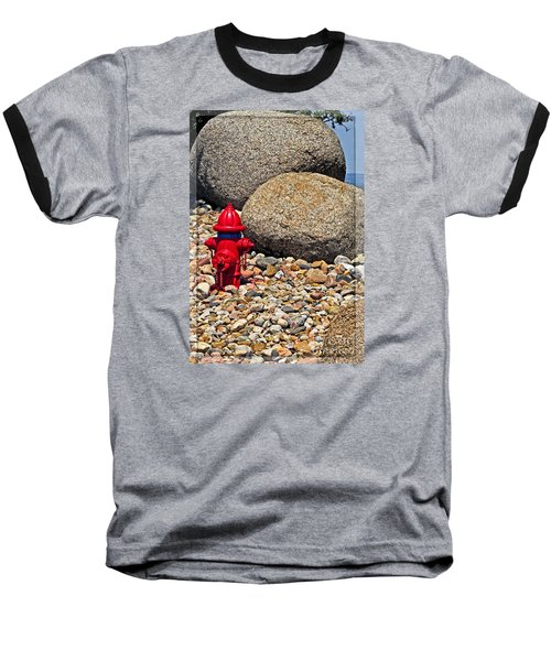 Baseball T-Shirt featuring the photograph Red Fire Hydrant On Rocky Hillside by Ella Kaye Dickey