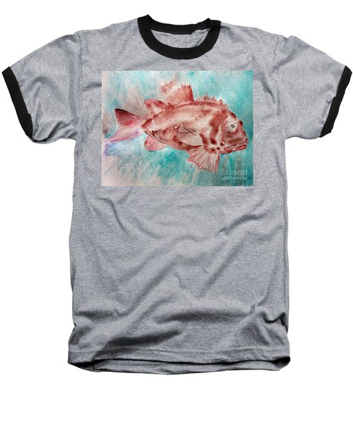 Baseball T-Shirt featuring the painting Red Fish by Jasna Dragun