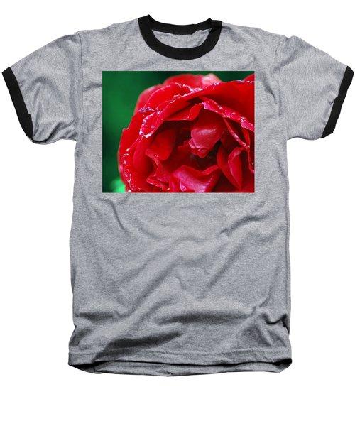 Baseball T-Shirt featuring the photograph Red Flower Wet by Matt Harang