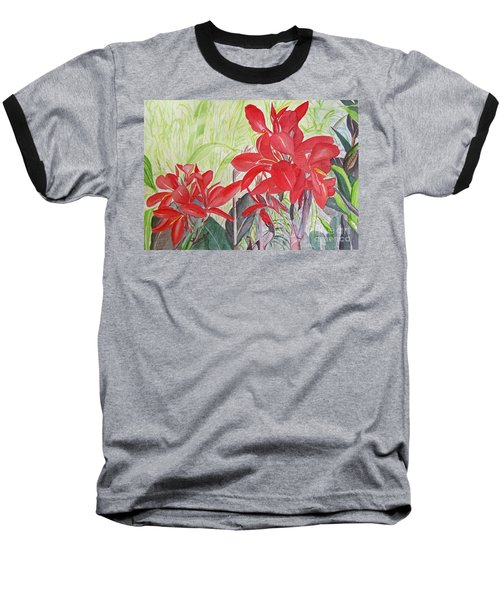 Baseball T-Shirt featuring the painting Red Flowers by Carol Flagg