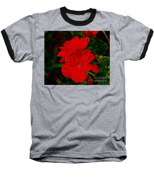 Red Flowers Baseball T-Shirt