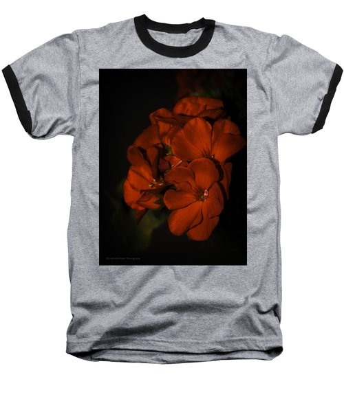 Baseball T-Shirt featuring the photograph Red Flowers In Evening Light by Lucinda Walter
