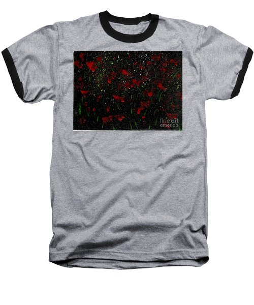 Baseball T-Shirt featuring the painting Red Flowers In Twilight  by Becky Lupe