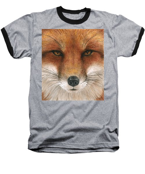 Red Fox Gaze Baseball T-Shirt by Pat Erickson