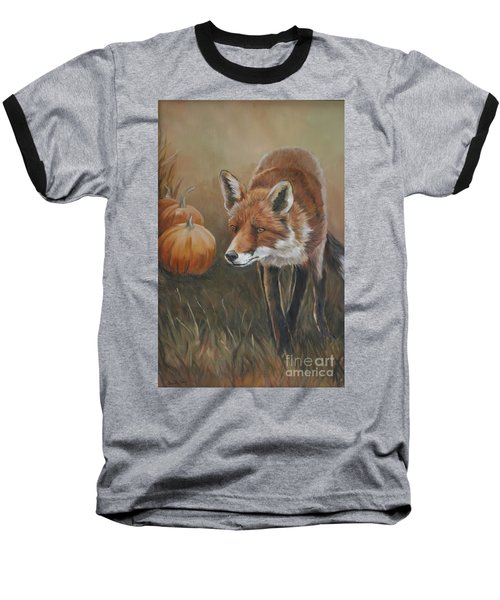 Red Fox With Pumpkins Baseball T-Shirt