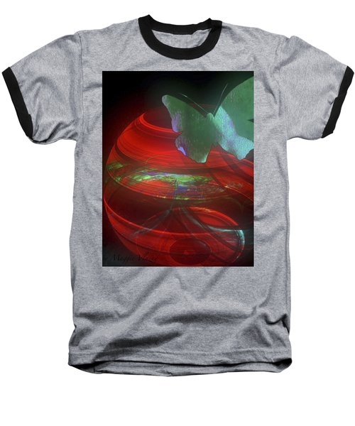 Red Fractal Bowl With Butterfly Baseball T-Shirt