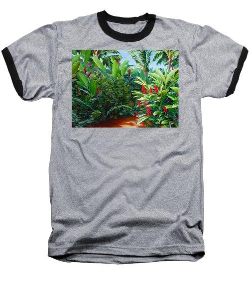 Tropical Jungle Landscape - Red Garden Hawaiian Torch Ginger Wall Art Baseball T-Shirt
