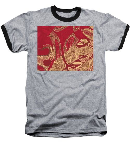 Red Geranium Abstract Baseball T-Shirt