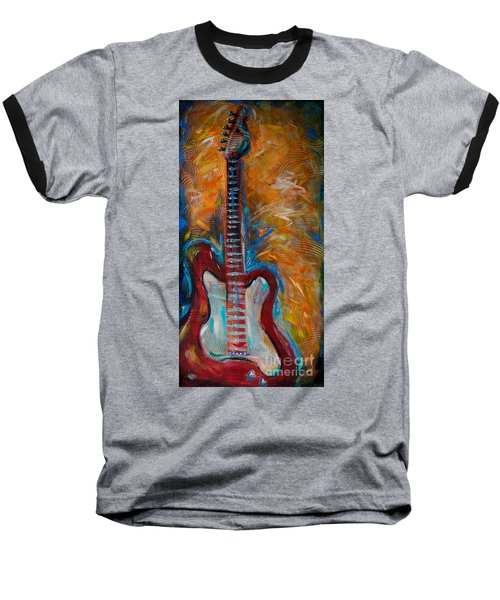 Baseball T-Shirt featuring the painting Red Guitar by Linda Olsen