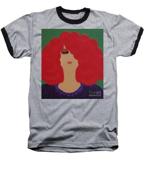 Red Head Baseball T-Shirt by Anita Lewis