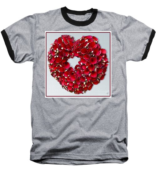 Red Heart Wreath Baseball T-Shirt by Victoria Harrington