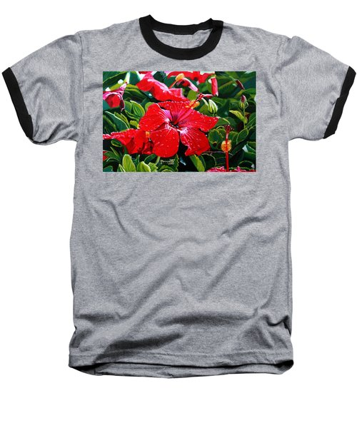 Red Hibiscus Baseball T-Shirt