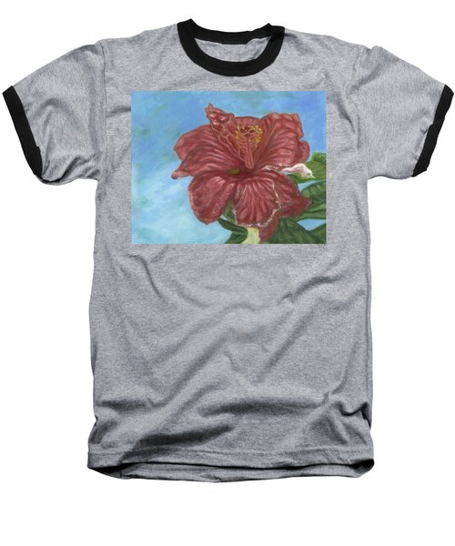 Red Hibiscus Baseball T-Shirt