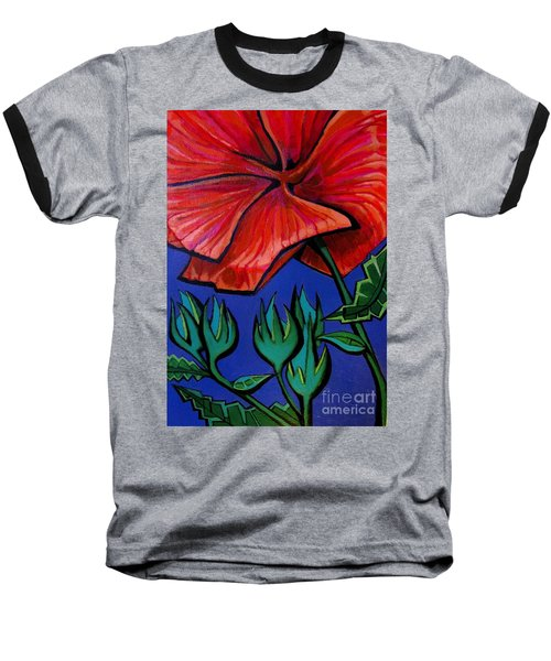 Red Ibiscus - Botanical Baseball T-Shirt