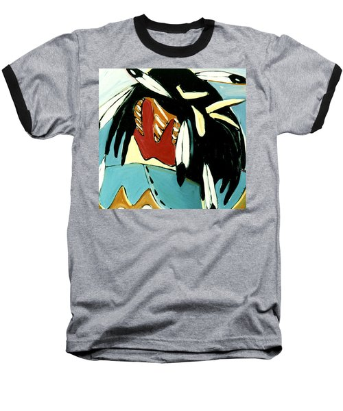 Red Indian Baseball T-Shirt by Lance Headlee