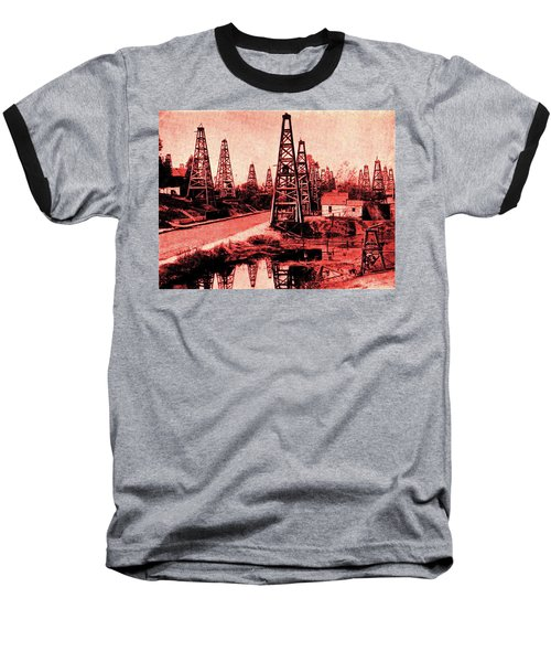 Baseball T-Shirt featuring the drawing Red Indiana Oil Wells Circa 1900 by Peter Gumaer Ogden