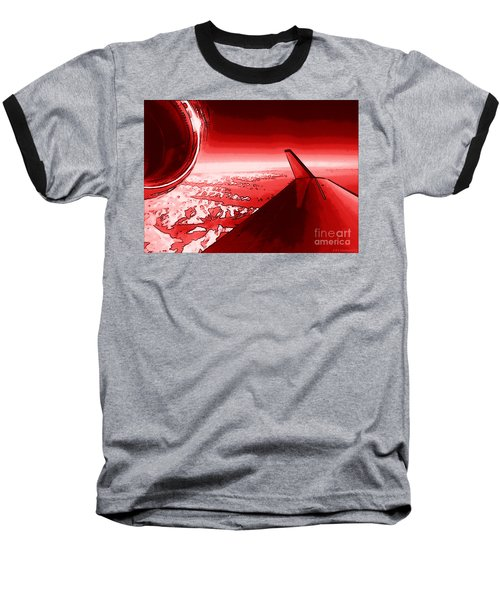Baseball T-Shirt featuring the photograph Red Jet Pop Art Plane by R Muirhead Art