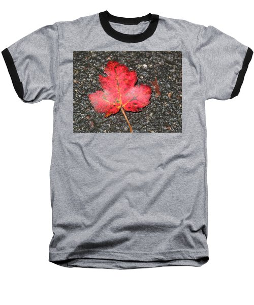 Baseball T-Shirt featuring the photograph Red Leaf On Pavement by Barbara McDevitt