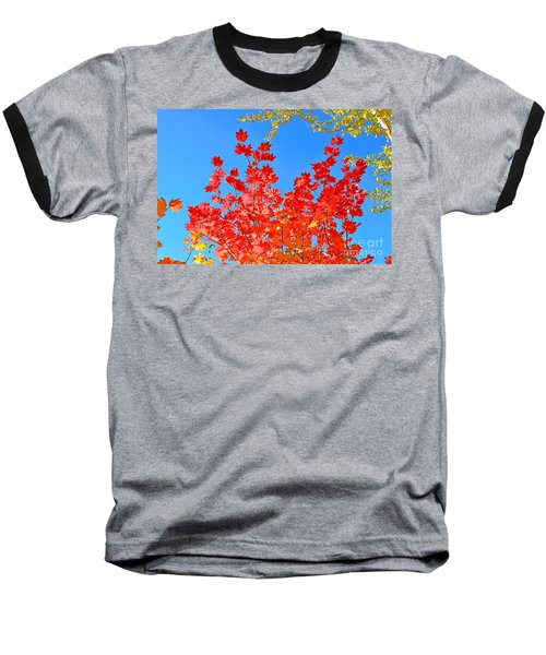 Baseball T-Shirt featuring the photograph Red Leaves by David Lawson