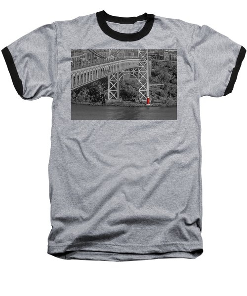 Red Lighthouse And Great Gray Bridge Bw Baseball T-Shirt