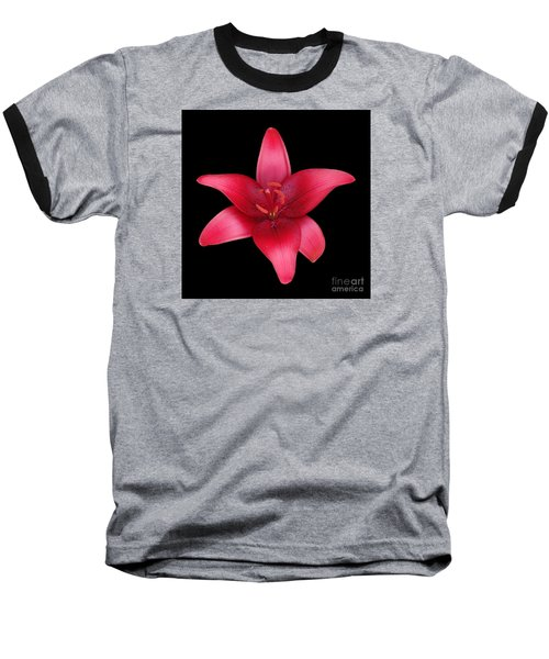 Baseball T-Shirt featuring the photograph Red Lily by Judy Whitton