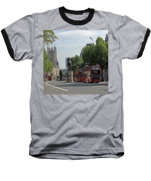 Red London Bus In Whitehall Baseball T-Shirt by Tony Murtagh