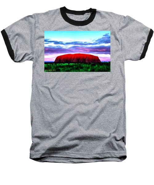 Baseball T-Shirt featuring the painting Red Mountain Sunset by Bruce Nutting