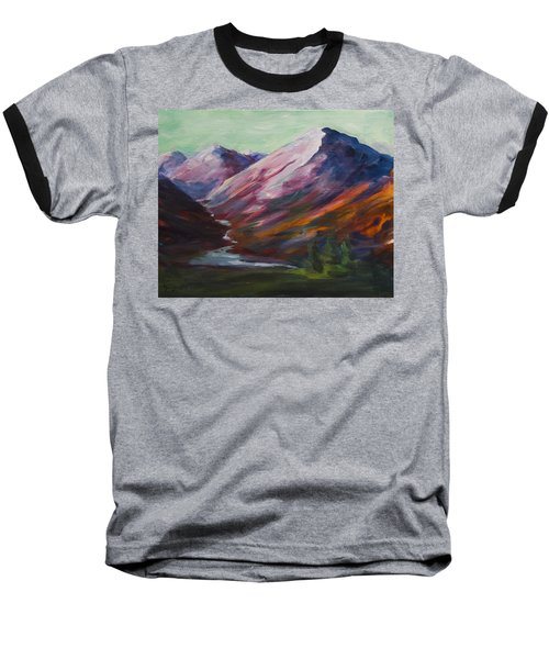 Red Mountain Surreal Mountain Lanscape Baseball T-Shirt
