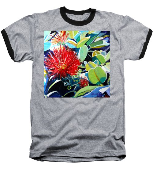 Red Ohia Lehua Flower Baseball T-Shirt