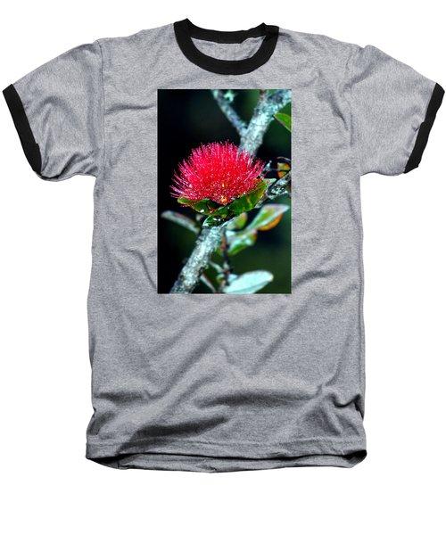 Red Ohia Lehua In Hawaii Volcano Mist Baseball T-Shirt