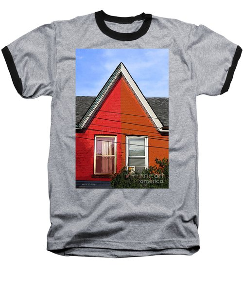 Baseball T-Shirt featuring the photograph Red-orange House by Nina Silver