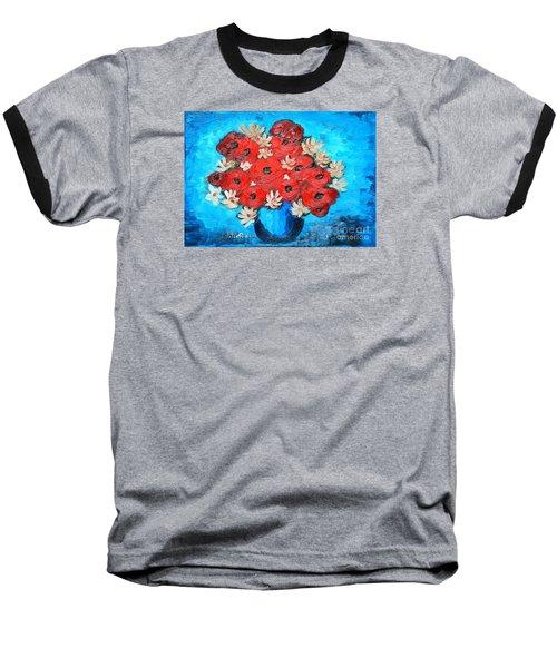 Red Poppies And White Daisies Baseball T-Shirt by Ramona Matei