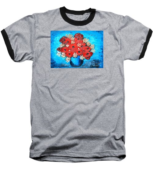Red Poppies And White Daisies Baseball T-Shirt