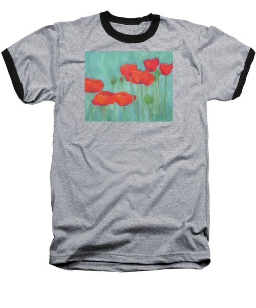 Red Poppies Colorful Poppy Flowers Original Art Floral Garden  Baseball T-Shirt