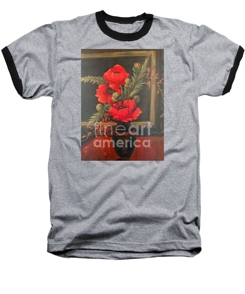 Red Poppies Baseball T-Shirt by Glory Wood