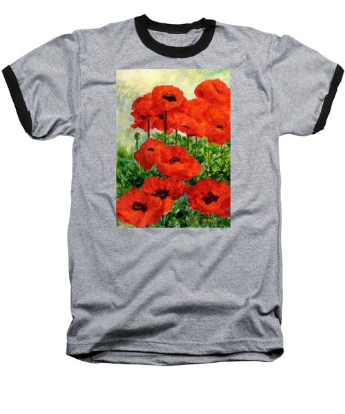 Red  Poppies In Shade Colorful Flowers Garden Art Baseball T-Shirt by Elizabeth Sawyer